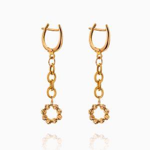 گوشواره طلا 18 عیار زنانه زنجیری مدل گوی و حلقه کد ER0277
