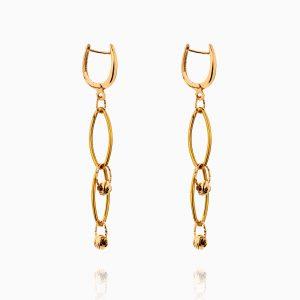 گوشواره طلا 18 عیار زنانه اسپورت مدل حلقه و گوی کد ER0279