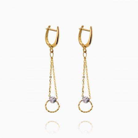 گوشواره طلا 18 عیار زنانه زنجیری مدل حلقه و گوی کد ER0282