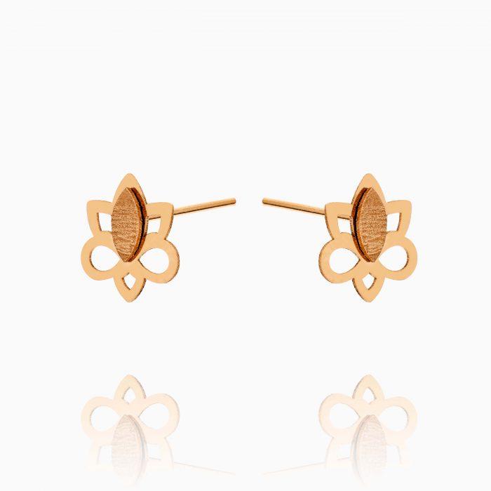 گوشواره طلا 18 عیار زنانه میخی مدل گل کد ER0284