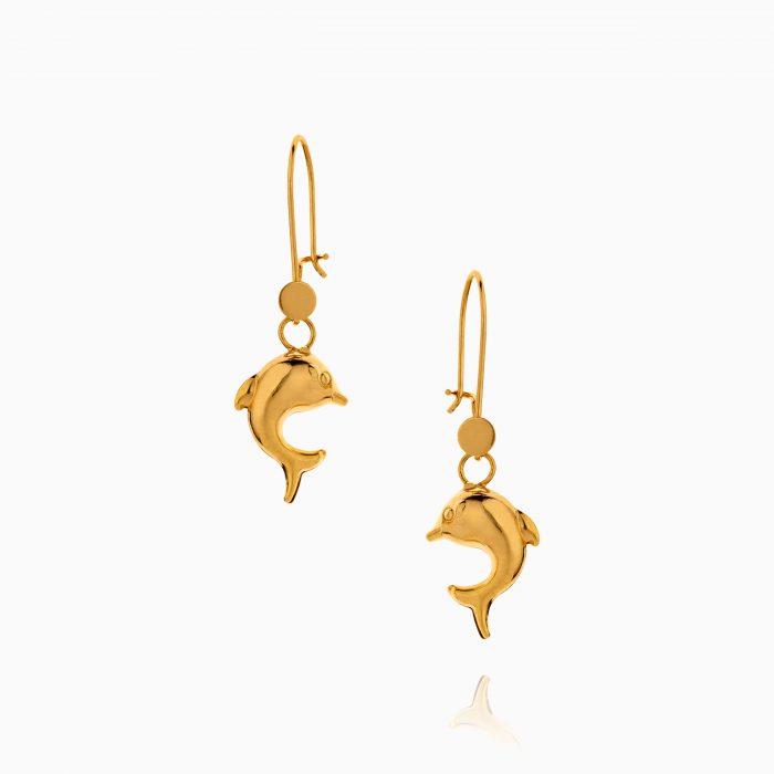 گوشواره طلا 18 عیار زنانه مدل دلفین کد ER0289