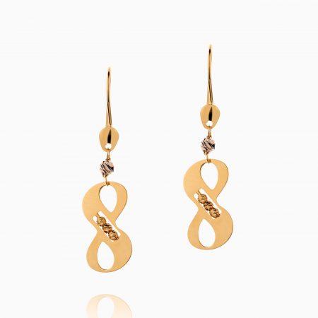 گوشواره طلا 18 عیار زنانه فانتزی مدل بینهایت کد ER0291
