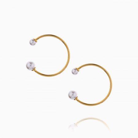 گوشواره طلا 18 عیار زنانه میخی با سنگ مروارید مدل حلقه دو مروارید کد ER0301