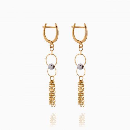 گوشواره طلا 18 عیار زنانه زنجیری مدل حلقه و گوی کد ER0302
