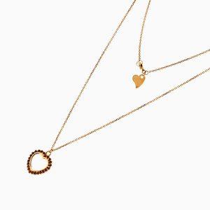 گردنبند طلا 18 عیار زنانه فانتزی با نگین اتمی مدل قلب سرخ کد NL0192