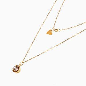 گردنبند طلا 18 عیار زنانه فانتزی با نگین اتمی مدل خورشید کد NL0193