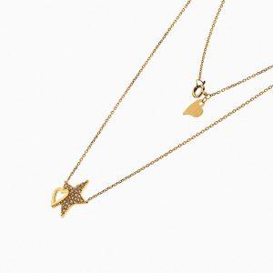 گردنبند طلا 18 عیار زنانه فانتزی با نگین اتمی مدل قلب و ستاره کد NL0204