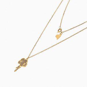 گردنبند طلا 18 عیار زنانه فانتزی با نگین اتمی مدل ابر و رعد کد NL0205
