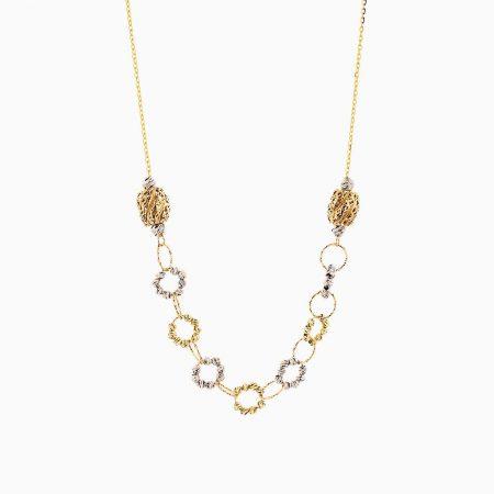 گردنبند طلا 18 عیار زنانه مدل گوی و حلقه کد NL0208
