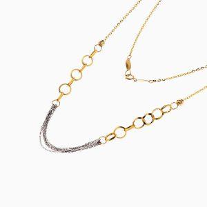 گردنبند طلا 18 عیار زنانه مدل زنجیر و حلقه کد NL0211