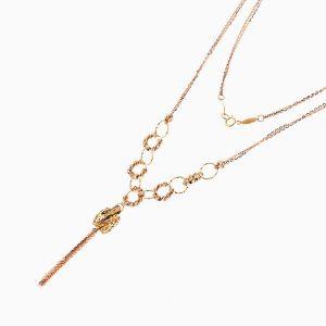 گردنبند طلا 18 عیار زنانه مدل حلقه و گوی با آویز استوانه ای کد NL0214
