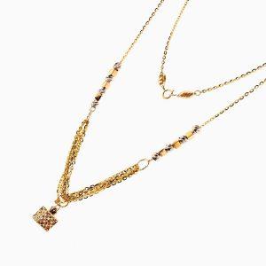 گردنبند طلا 18 عیار زنانه مدل زنجیر و گوی با آویز مکعب کد NL0217