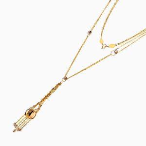 گردنبند طلا 18 عیار زنانه مدل آویز گوی و زنجیر کد NL0218