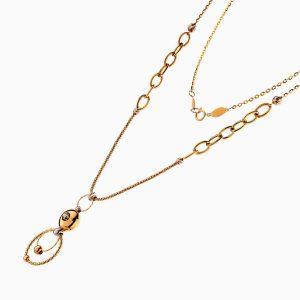 گردنبند طلا 18 عیار زنانه مدل آویز گوی و دو حلقه کد NL0220