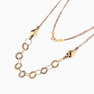 گردنبند طلا 18 عیار زنانه مدل حلقه و گوی کد NL0221