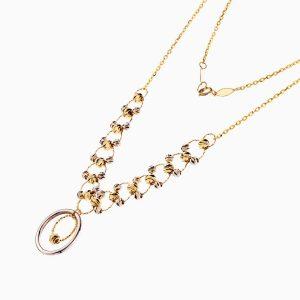 گردنبند طلا 18 عیار زنانه مدل حلقه و گوی با آویز دایره کد NL0222