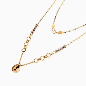 گردنبند طلا 18 عیار زنانه مدل حلقه ای با آویز طرح دار کد NL0224