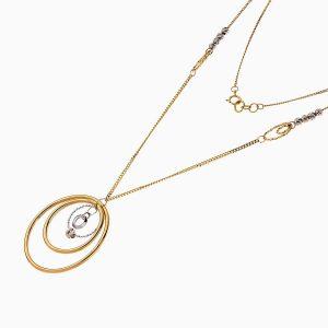 گردنبند طلا 18 عیار زنانه مدل آویز گوی و حلقه کد NL0230