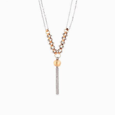 گردنبند طلا 18 عیار زنانه مدل گوی و مکعب با آویز ریسه کد NL0237