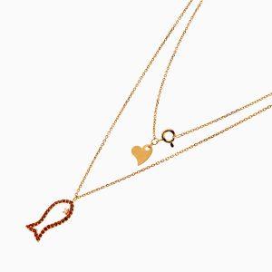 گردنبند طلا 18 عیار زنانه فانتزی با نگین اتمی مدل ماهی کد NL0245