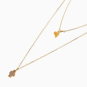 گردنبند طلا 18 عیار زنانه زنجیری با نگین اتمی مدل ونکلیف کد NL0246