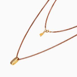 گردنبند طلا 18 عیار زنانه زنجیری با نگین اتمی مدل حلقه آویز کد NL0251