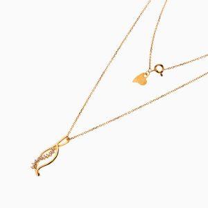 گردنبند طلا 18 عیار زنانه زنجیری با نگین اتمی مدل گلبرگ کد NL0255