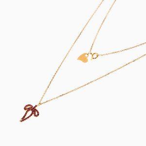 گردنبند طلا 18 عیار زنانه اسپورت با نگین اتمی مدل پاپیون کد NL0256