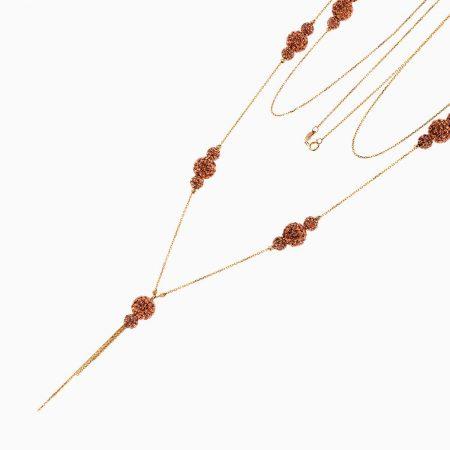 گردنبند طلا 18 عیار زنانه رولباسی مدل گوی تراش خور کد NL0257