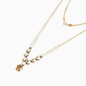 گردنبند طلا 18 عیار زنانه زنجیری مدل حلقه و گوی با آویز طرح دار کد NL0259