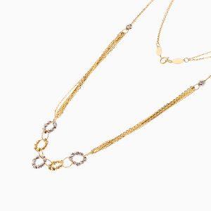 گردنبند طلا 18 عیار زنانه زنجیری مدل گوی و حلقه کد NL0261