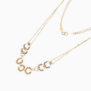 گردنبند طلا 18 عیار زنانه زنجیری مدل گوی و حلقه کد NL0262
