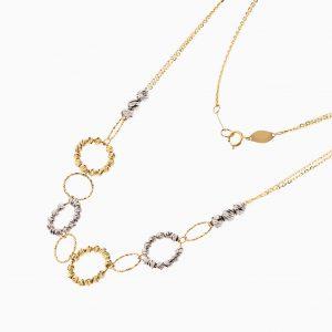 گردنبند طلا 18 عیار زنانه زنجیری مدل گوی و حلقه کد NL0264