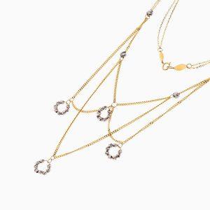 سینه ریز طلا 18 عیار زنانه زنجیری مدل گوی و حلقه کد NL0267