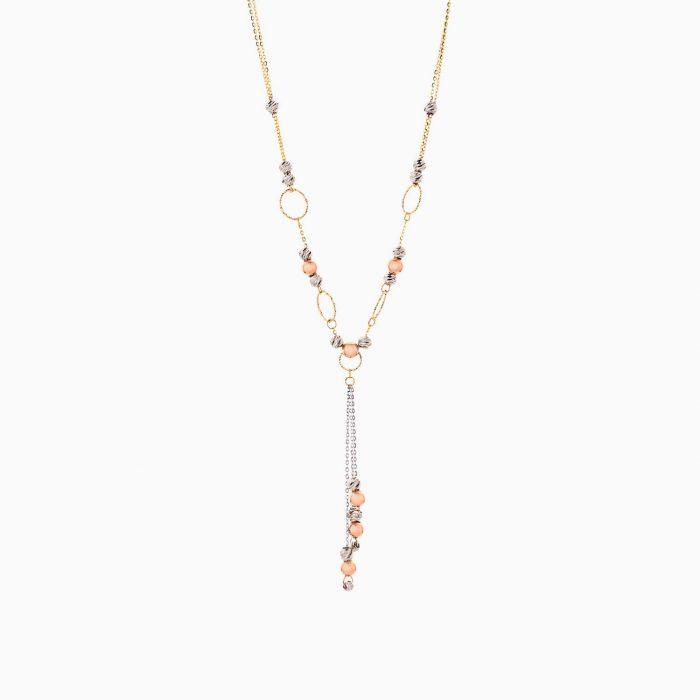 گردنبند طلا 18 عیار زنانه زنجیری مدل حلقه و گوی با آویز کد NL0268