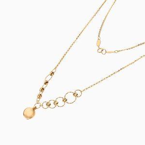 گردنبند طلا 18 عیار زنانه زنجیری مدل حلقه و گوی با آویز گرد کد NL0269