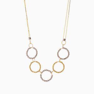 گردنبند طلا 18 عیار زنانه زنجیری مدل گوی و حلقه کد NL0270