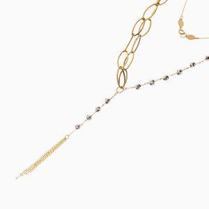 گردنبند طلا 18 عیار زنانه زنجیری مدل حلقه و گوی کد NL0271