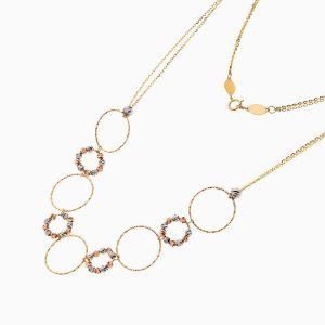 گردنبند طلا 18 عیار زنانه زنجیری مدل حلقه و گوی کد NL0272