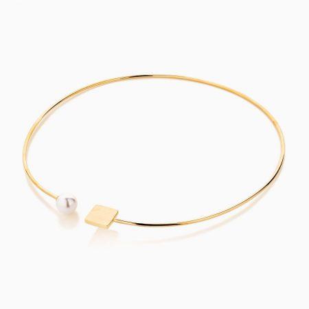 گردنبند طلا 18 عیار زنانه چوکر با سنگ مروارید مدل مکعب و مروارید کد NL0274