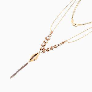 گردنبند طلا 18 عیار زنانه زنجیری مدل حلقه و گوی با آویز چشم کد NL0275
