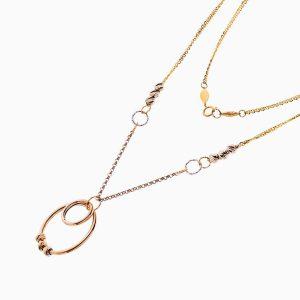 گردنبند طلا 18 عیار زنانه زنجیری مدل حلقه و گوی کد NL0276