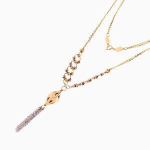 گردنبند طلا 18 عیار زنانه زنجیری مدل حلقه و گوی با آویز طرح دار کد NL0278