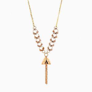 گردنبند طلا 18 عیار زنانه زنجیری مدل حلقه و گوی با آویز طرح دار کد NL0279