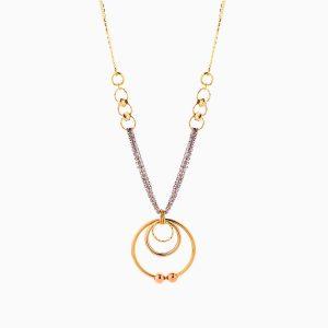 گردنبند طلا 18 عیار زنانه زنجیری مدل حلقه و گوی کد NL0280