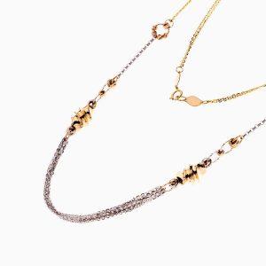 گردنبند طلا 18 عیار زنانه زنجیری مدل حلقه و گوی پیچ دار کد NL0281