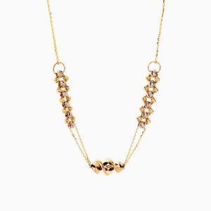 گردنبند طلا 18 عیار زنانه زنجیری مدل گوی و حلقه با آویز طرح دار کد NL0283