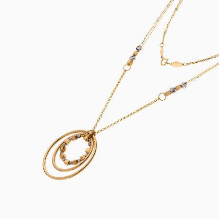 گردنبند طلا 18 عیار زنانه زنجیری مدل حلقه و گوی کد NL0285