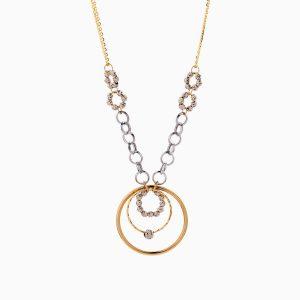 گردنبند طلا 18 عیار زنانه زنجیری مدل حلقه و گوی کد NL0286
