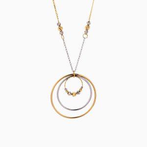 گردنبند طلا 18 عیار زنانه زنجیری مدل حلقه و گوی کد NL0287